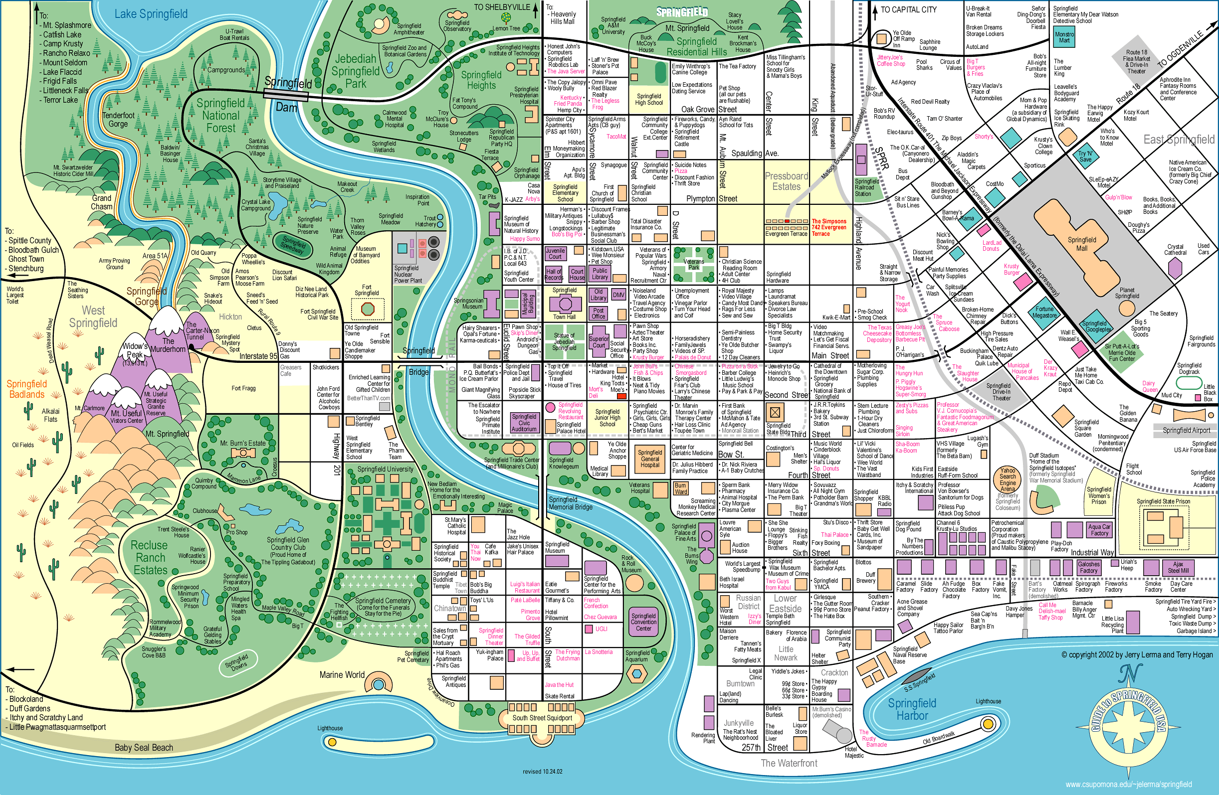 Springfield Usa Map.Simpsons Town Map Thesimpsons